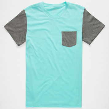 Blue Crown Contrast Mens Pocket Tee Mint  In Sizes