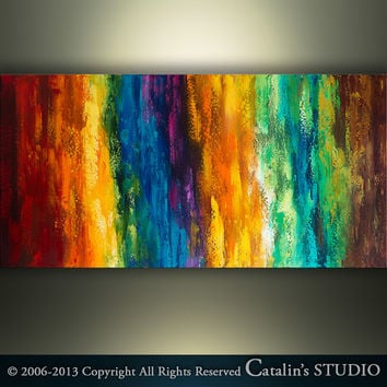 """Abstract Painting Original Palette Knife Modern Landscape Painting Art by Catalin 48""""x24"""" Large Rainbow Modern Painting Abstract Painting"""