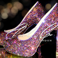 CHARLIE CO. Crystal Volcano Closed Toe Court Platform Heels Evening Strass Purple Gold