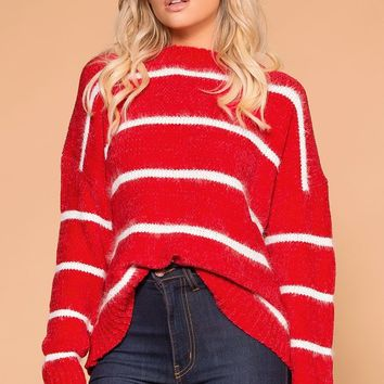 Maddie Red Stripe Chenille Knit Sweater