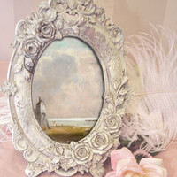French Style Ceramic Rose Oval Picture Frame - The Bella Cottage
