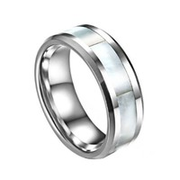 Matching Comfort Fit High Polish Tungsten Carbide Rings 8mm with White Shell Inlay Inlay His & 6mm with Pink Shell Inlay Hers Set Aniversary/engagement/wedding Bands. Please E-mail Sizes