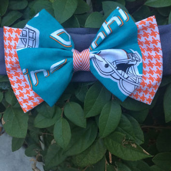 Miami Dolphins Bow Headband; NFL; Football; Game Day; Hair Accessories
