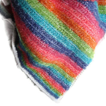 New Hand Crocheted Fur Yarn Baby/Toddler Afghan Blanket Multi Stripes