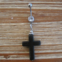 Belly Button Ring - Body Jewelry - Black Cross with Clear Gem Belly Button Ring