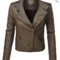 BLACK SWAN Heart Womens Faux Leather Zip Up Moto Jacket (CLEARANCE)