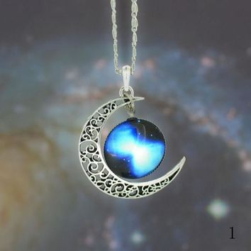 ESBON stars the moon time diamond necklace