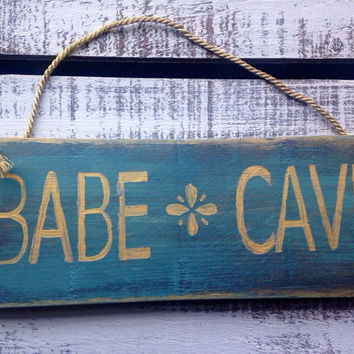Babe Cave. Rustic Sign. Gift for Girls. Gift for Teenage Girl. Flower Power.