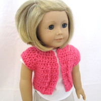 American Girl Doll Shrug Sweater Pink Crochet