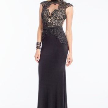 Beaded Illusion High Neck Dress
