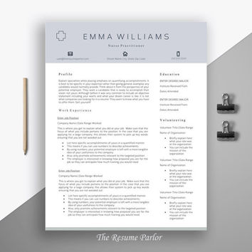 "Professional Resume Template | Creative Modern Resume | CV for Word | Medical Template | Nurse Practitioner CV | ""The Nurse Practitioner"""