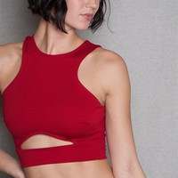 Diosa Racer Neck Crop Top With Front Cut-Out & Back Gold Zipper - Red