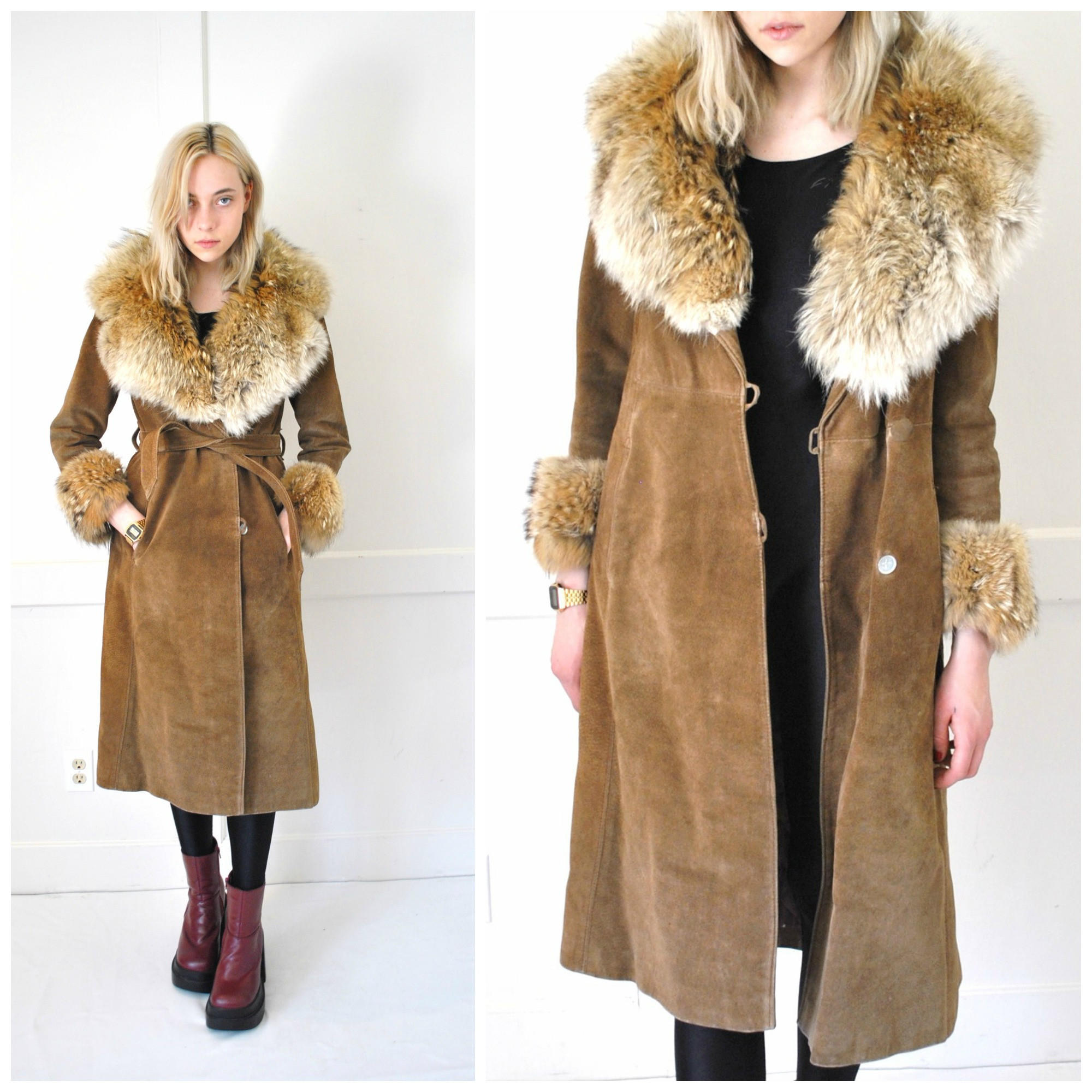 Almost Famous Faux Fur Trimmed Suede Coat: Fur Trimmed Suede Coat Vintage 1970s 70s From Http://wwww