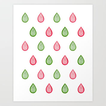 Pink and green raindrops Art Print by Savousepate