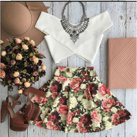 White Cropped Bandeau Top Floral Skater Skirt Set