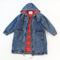 VINTAGE Denim Coat Plaid Flannel Hood Medium by WearitWellvintage
