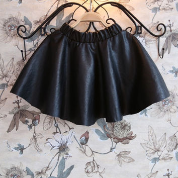 2016 super cool girls half-length skirt pu leather texture wild girls tutu skirt children girls leather skirt kids skirts