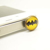 1PC Retro Epoxy Transparent Gems Batman Cell Phone Earphone Jack Antidust Plug Charm for iPhone 4s,4g,5,5s,Samsung S4, Nokia HTC