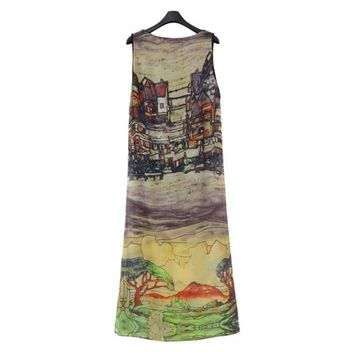 Popular Sleeveless Silk Chiffon Long Maxi Dress For Summer