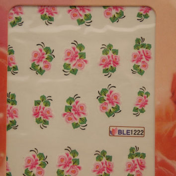 Nail art water decals Floral nail decals Water nail transfers Pink flowers