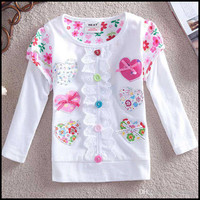 New spring and autumn style Pure cotton Long sleeve T-shirt , Love with bowknot , Children's clothes A2 (5pcs/lots)