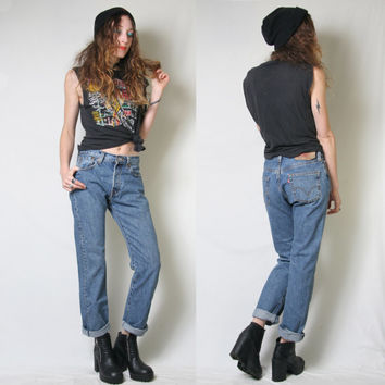 Vintage Levi 501 - Levis 501 - Blue Jeans - Boyfriend Jeans - High Waisted Jeans - Button Fly - Blue Denim - Size 29 - Distressed Denim