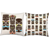 Set of 2 Tiki Man Pillows - Tiki Print Pillow Covers with or without Cushion Inserts - Polynesian Print, Beach House Pillows, Hawaii Pillows