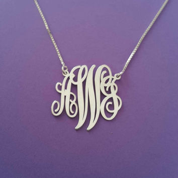Tiny Monogram Necklace 3 Initial Mongram Necklace Xmas Gift For Her White Gold Small Monogram Necklace Name Christmas Gifts Mongram Chain