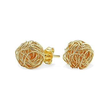 Wire Twisted Knot Rope Round Ball Stud Earrings 14K Gold Plated 7MM