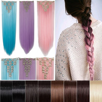 "26"" 66cm Women Long Straight Clip in hair Extentions 8PCS Full Head hair Extension 100% real thick brown pink red purple blue"