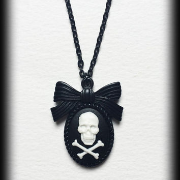 Skull Necklace, Gothic Punk Cameo, Black and White Skull and Crossbones, Skull Pendant, Unique Gift Idea