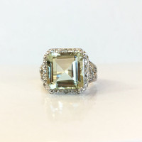 Green Amethyst & Diamond Ring, Sterling Silver Green Gemstone Halo Ring, Cocktail Ring, Princess Shape, Gift For Her, Estate Jewelry Sz 6.5