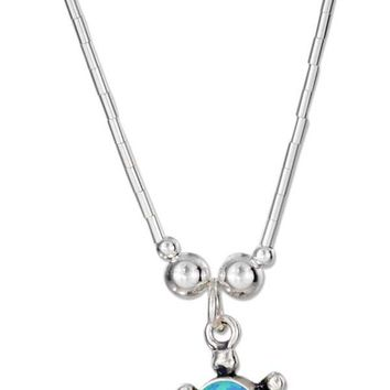 "Sterling Silver Necklaces: 16"" Synthetic Blue Opal Turtle Necklace"