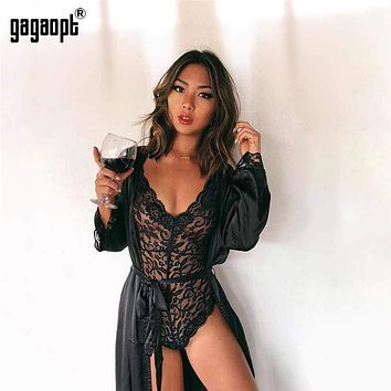 538885ed0 Gagaopt 2018 4 Colors Lace Bodysuit Women Deep V Neck Sexy Bodys