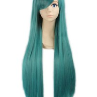 """LOUISE MAELYS 31"""" 80cm Turqoise Long Straight Anime Hair Cosplay Costume Party Full Wigs"""