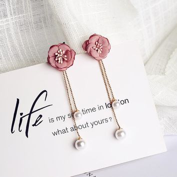 Flower Long Bead Chain Earrings