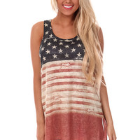 Aged Stars and Stripes Racerback Tank