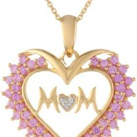 Sterling Silver Created Pink Sapphire with Diamond Heart Mom Pendant Necklace, 18""