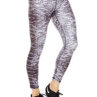 Womens Black and White Bricks Performance Leggings