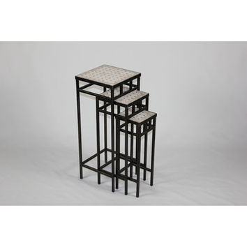 4D Concepts 3 Piece Slate Square Plant Stands w/ Travertine Tops in Antique Tuscany Metal