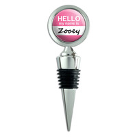 Zooey Hello My Name Is Wine Bottle Stopper