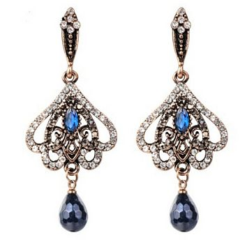 Blue Crystal and Gold Antique Long Earrings