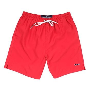 Swim Suit in Red with Embroidered Longshanks by State Traditions