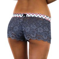 FOXERS - Charcoal Grey Lace Boxer Short
