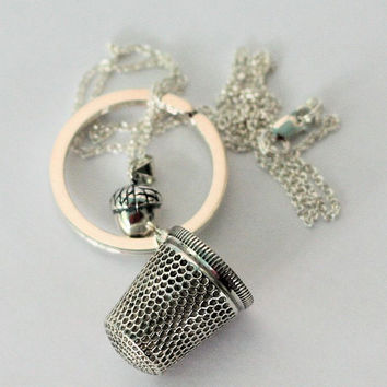 Acorn Kiss Pendant  AND Antique Thimble Peter Pan Kiss Key ring Set - 2 Sterling Sterling Silver - Men - Women - Sweetheart - Lover - Sister