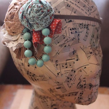 Flapper Girl Teal and Orange Vintage Woodland & Lace Headband 1920s Great Gatsby -Custom Made