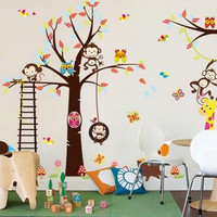 Cute monkeys playing on trees wall stickers for kids rooms decorative adesivo de parede removable pvc wall decal diy zooyoo1212 SM6