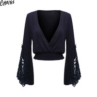Women 3 Colors Wrap V Neck Lace Insert Vintage Flare Long Sleeve Sexy Crop Top Elegant Blouse 2016 New Casual Patchwork Clothing