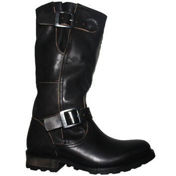 PLDM Urban - Black Leather Tall Dual Buckle Engineer Boot