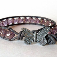 Fly Away Amethyst Gold Beaded Leather Wrap Bracelet by PZWDesign
